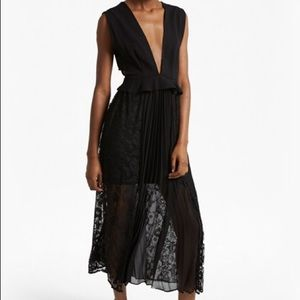 French Connection Pleat & Lace Dress
